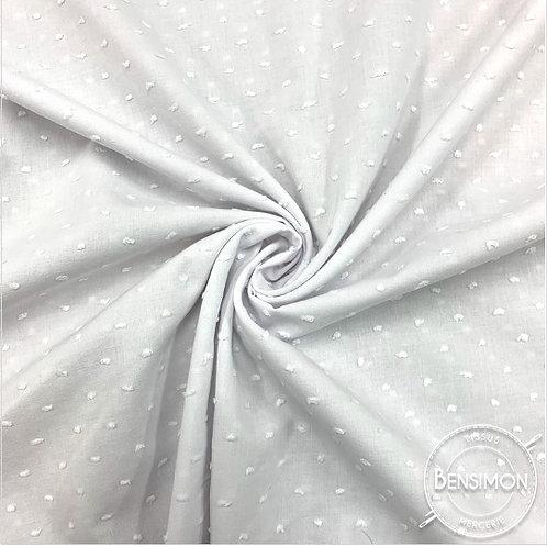 Tissu popeline coton plumetis - Blanc X 50cm