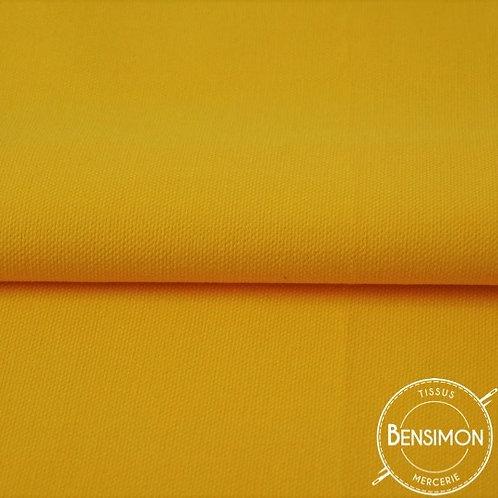 Tissu natté Gabardine Coton - Jaune Moutarde X 50cm