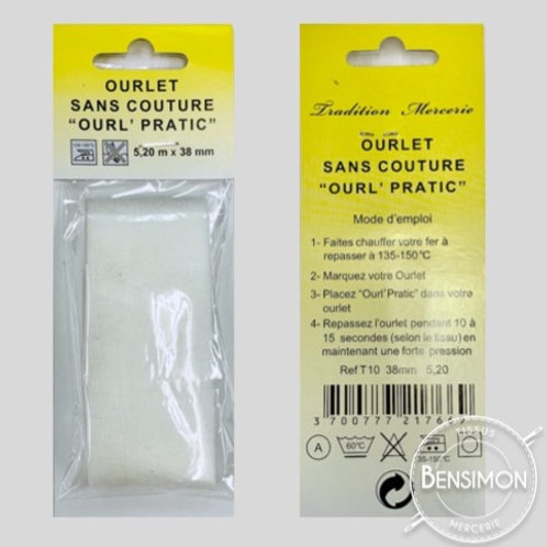 Ourlet thermocollant double face 5,20 mètres - Blanc