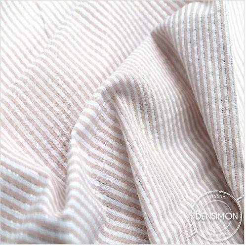 Tissu coton Seersucker Lurex - Rose X 50cm