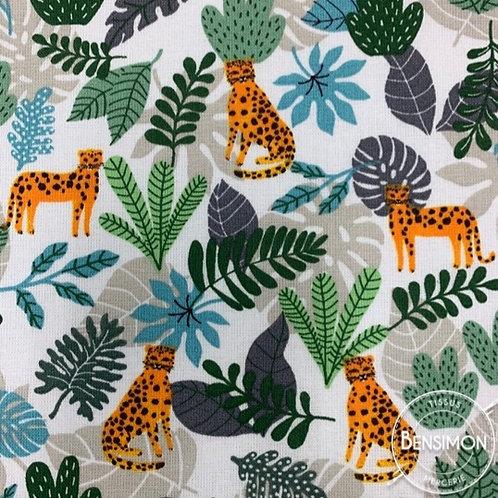 Tissu coton imprimé oekotex jungle simba