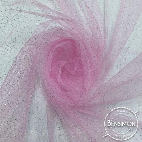 Tissu Tulle à paillettes - Rose clair X 1M