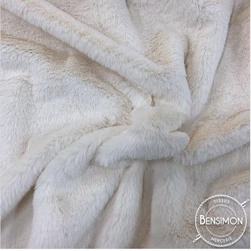 Tissu fausse Fourrure Vison - Écru X 50cm
