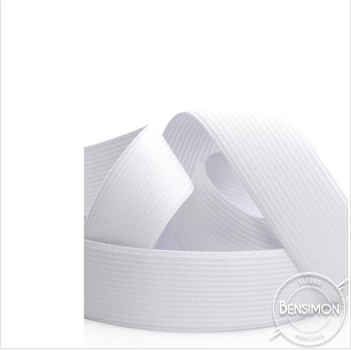 Élastique plat tissé 25mm - Blanc ou Noir