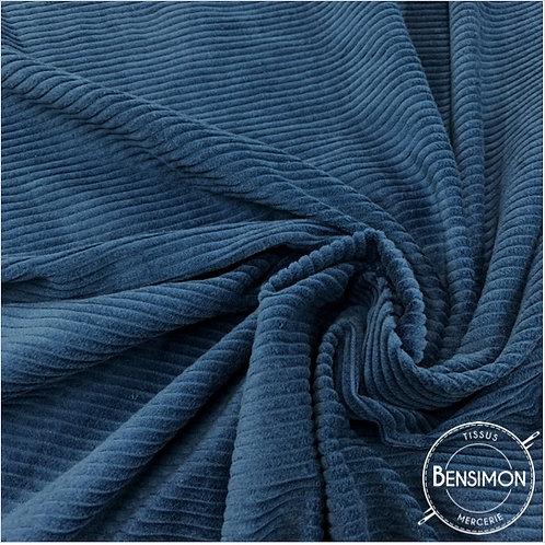 Tissu Velours côtelé 500 raies - Bleu Jeans X 50cm