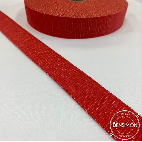 Sangle lurex pailletes 30mm rouge or