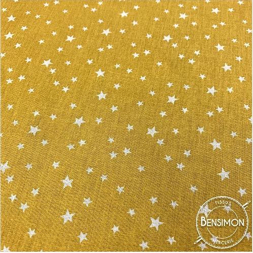 Tissu coton imprimés - Étoiles moutarde X 50cm