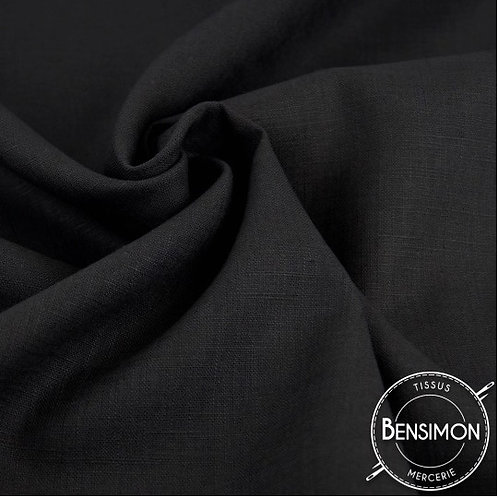 Tissu Lin - Noir X 50cm