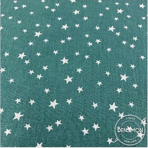 Tissu coton imprimés - Étoiles eucalyptus X 50cm