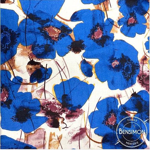 Tissu coton viscose imprimée - Coquelicot bleu X 50cm