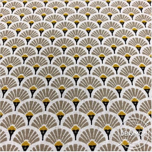 Tissu coton imprimés - Eventails beige X 50cm