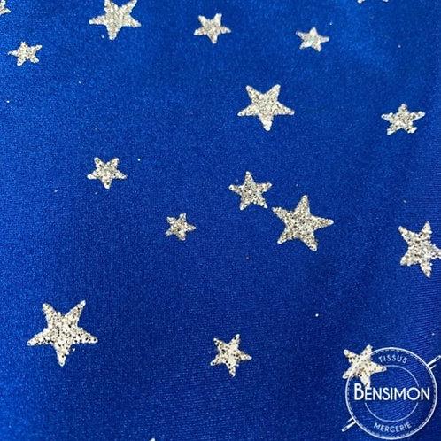 Tissu extensible Lycra stretch lamé brillant pailleté justaucorps académique danse étoile bleu