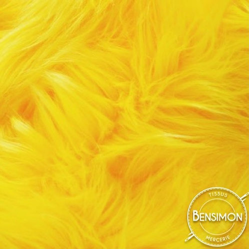 Tissu effet Fourrure poils longs - Jaune X 50cm