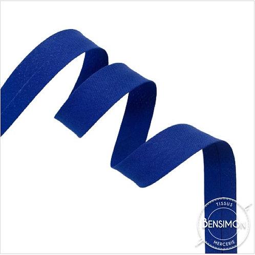 Biais coton replié 20mm - Bleu roi n°1161