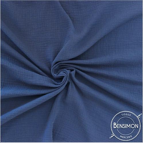 Double gaze coton OekoTex  - Indigo - Bleu Jeans X 50cm