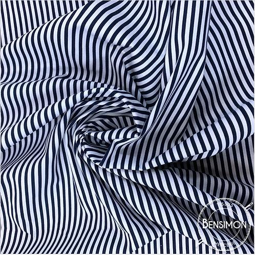 Tissu coton imprimés - Rayures bleu marine X 50cm