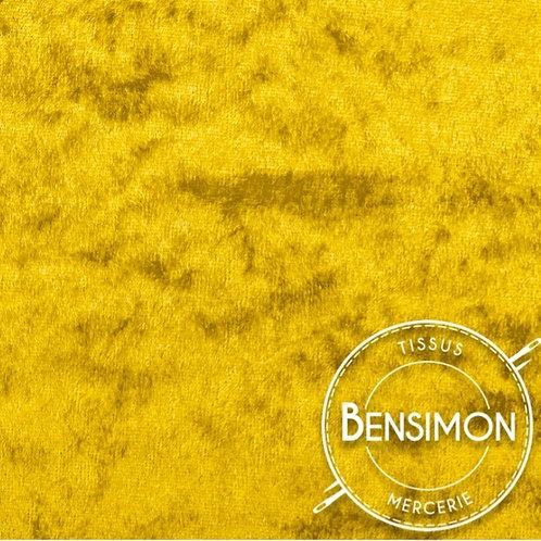 Tissu Panne de Velours - Jaune X 50cm