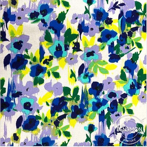 Tissu coton viscose imprimée - Print flowers violet X 50cm