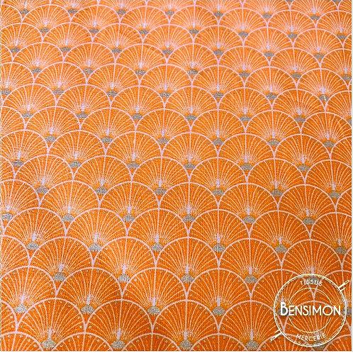Tissu coton imprimés - New Eventails lurex - Orange & Argent X 50cm
