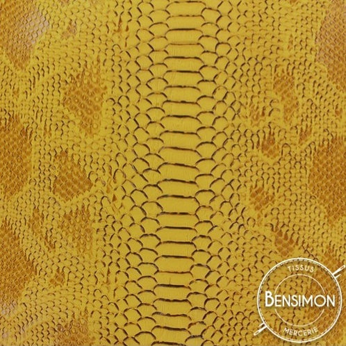 Simili cuir peau crocodile komodo jaune moutarde