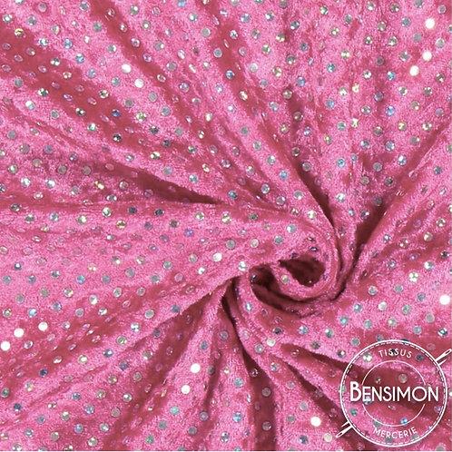 Tissu Panne de Velours pailleté - Rose X 50cm