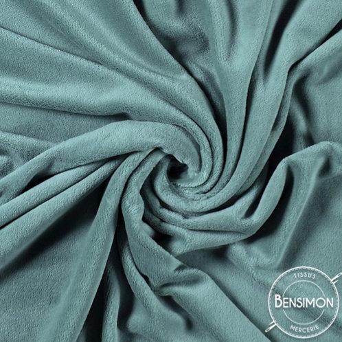 Tissu doudou pilou tout doux eucalyptus bleu gris