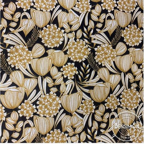 Tissu coton imprimés - Feuillages moutarde noir X 50cm