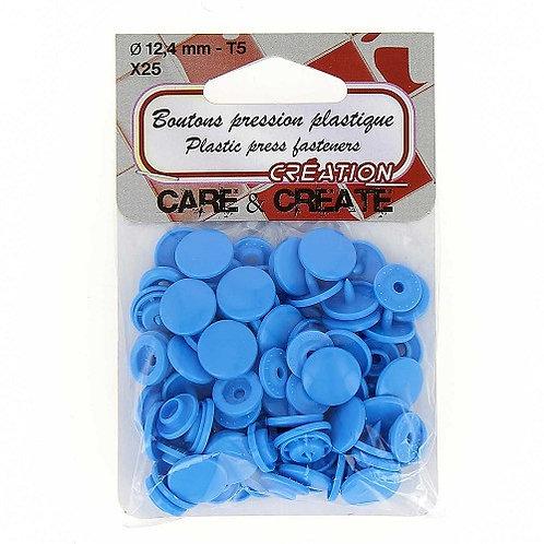 Boutons pression plastique 12,4 mm Bleu Roi X 25