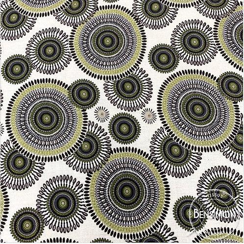 Tissu coton viscose imprimée - Rosaces kaki X 50cm
