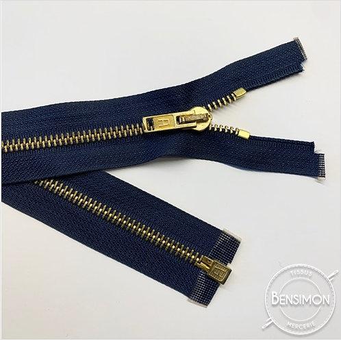 Fermeture métal 5mm séparable - Bleu Marine Or