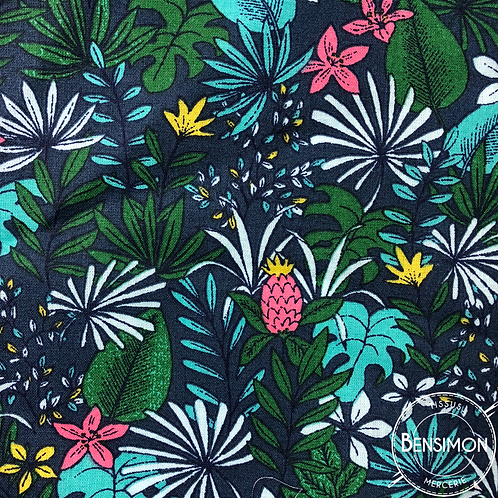 Tissu coton imprimés - Jungle pitaya bleu X 50cm
