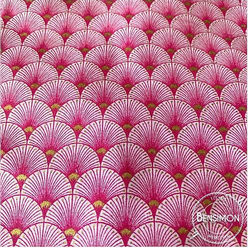 Tissu coton imprimés - New Eventails lurex - Fuchsia & Or X 50cm