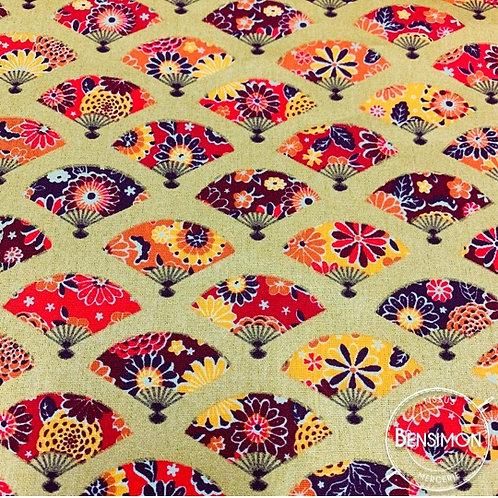 Tissu coton imprimés - Eventails Akemi lurex or rouge X 50cm