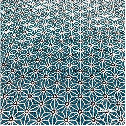 Tissu coton imprimés - Motifs japonais Saki pétrole X 50cm