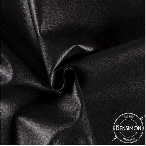 Tissu Simili Cuir Grainé - Noir X 50cm