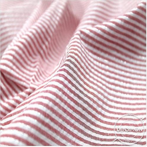 Tissu coton Seersucker Lurex - Rouge X 50cm