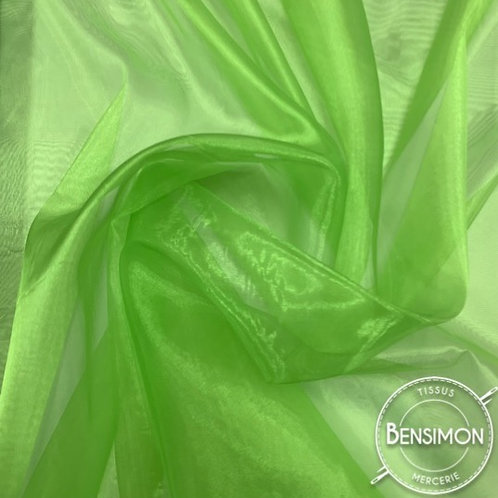 Tissu Organza reflets changeants - Vert X 50cm