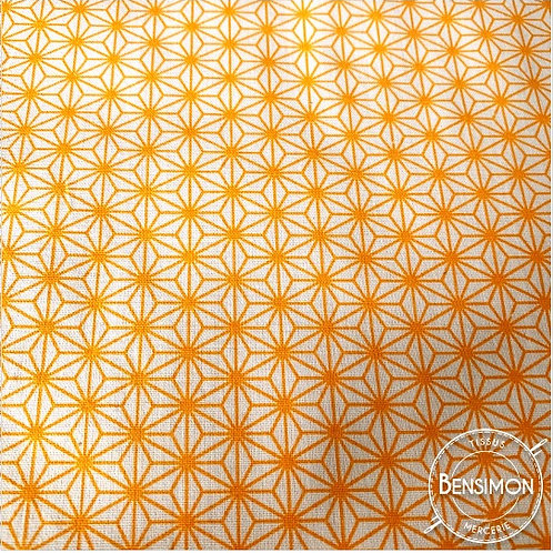 Tissu coton imprimés - Motifs japonais New Saki B - Orange X 50cm