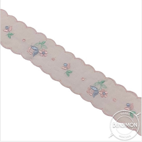 Broderie anglaise ruban - Rose X 1M