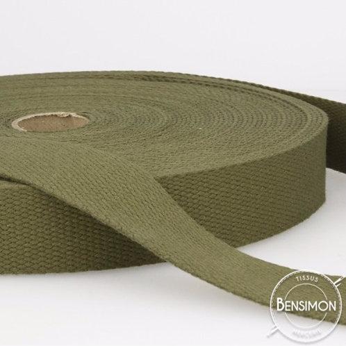 Sangle sac 100% coton 30mm kaki