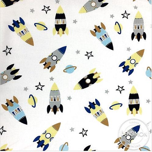 Tissu coton imprimés - Fusée bleu & jaune X 50cm