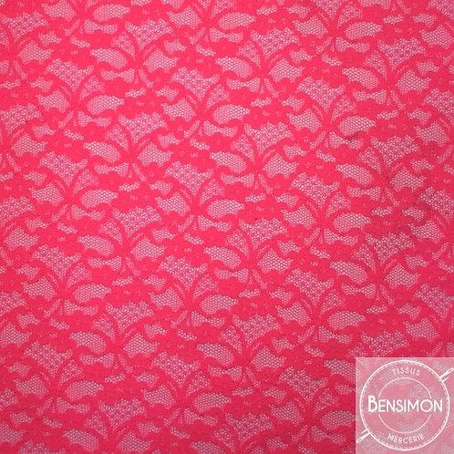 Dentelle résille 1.000 fleurs - Fuchsia X50cm