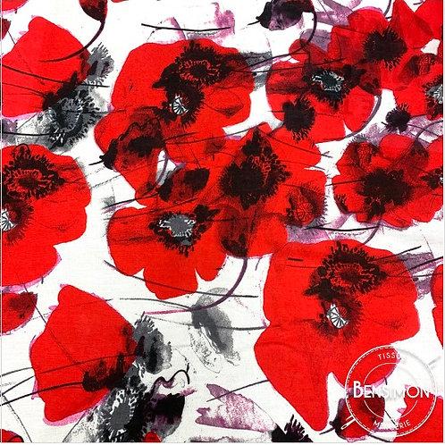 Tissu coton viscose imprimée - Coquelicot rouge X 50cm