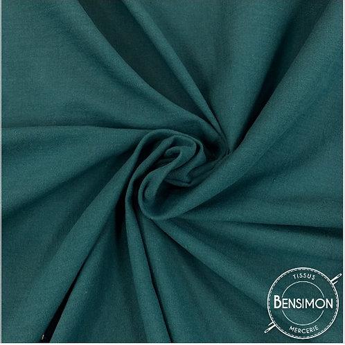 Tissu crêpe de coton uni - Pétrole X 50cm