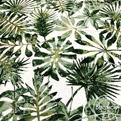 Tissu jacquard tissé feuillage vert