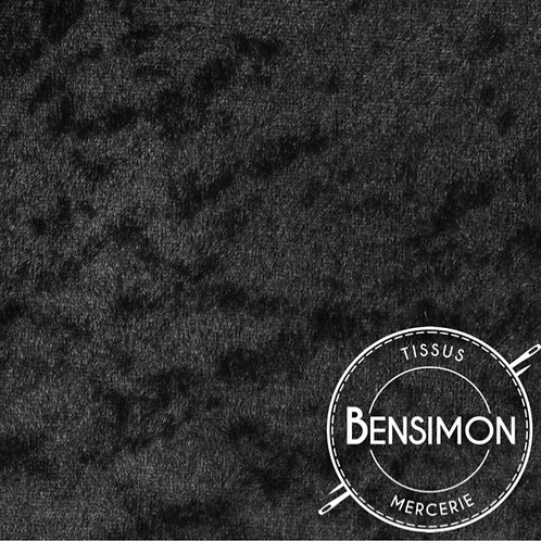 Tissu Panne de Velours - Noir X 50cm