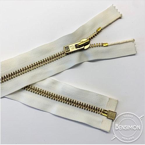 Fermeture métal 5mm séparable - Blanc Or