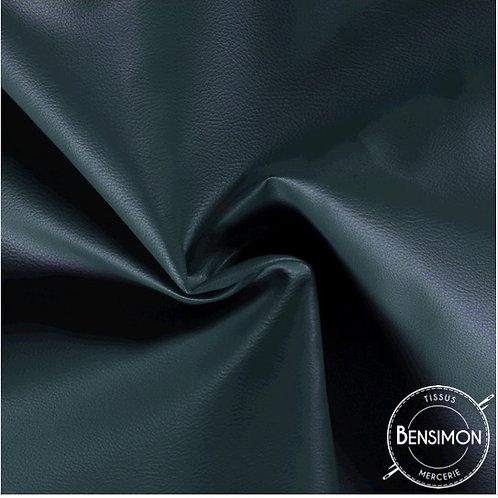 Tissu Simili Cuir Grainé - Vert Bouteille X 50cm
