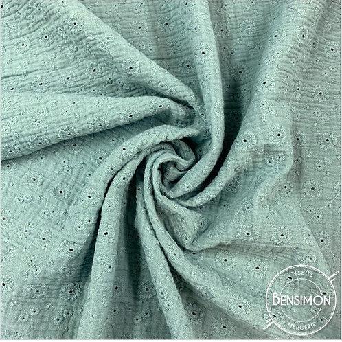 Double gaze coton Broderie Anglaise  - Eucalyptus X 50cm