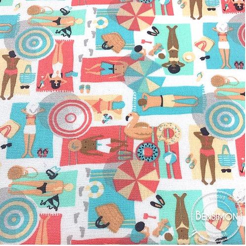 Tissu coton imprimés enduit - La plage X 50cm